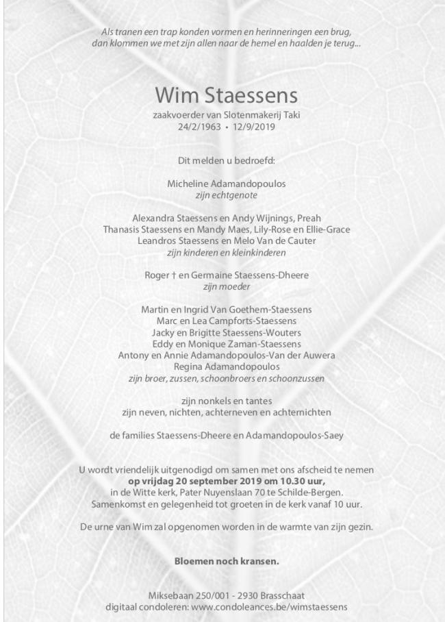 Overlijdensbericht Slotenmaker-Lid Wim Staessens